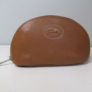 Vintage Longchamp Domed Cosmetics Pouch Leather